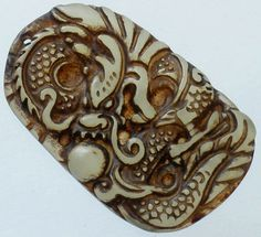 Chinese Old Jade Hand Carved Dragon Playing Pearl Bead (LongXiZhu) Pendant Q827