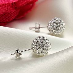 Image of New Crystal Ball Silver Rhinestone Earrings&Stud