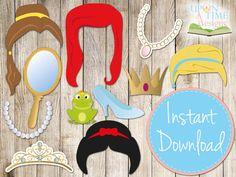 PRINCESS Photobooth Props INSTANT DOWNLOAD - Printable - Princess Hair, Tiara, Crown, Jewellery,Mirror, Cinderella,Snow White, Mermaid etc on Etsy, $3.46