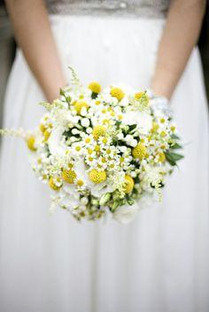 Round Bridal Bouquet: White Lisianthus, White Astilbe, White Bouvardia, White/Yellow Chamomile + Yellow Craspedia (Billy Balls, Billy Buttons)