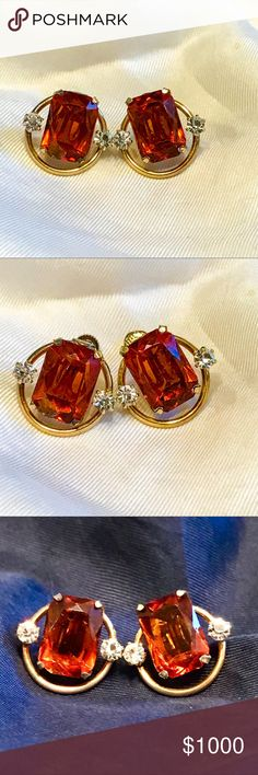 VTG 60s Imperial Topaz 12k G.F. Screwback Earrings Vintage 1960s Imperial Topaz & Stone- Possibly Diamond 12k Gold Fill Screw Back Earrings. Small chip on one stone. Absolutely stunning!!! Being tested further for specific identification. Once I finish I will switch them for sale. Like for notifications Stay tuned!! Vintage Jewelry Earrings