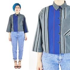 80s Cropped Blouse Womens Plaid Shirt Collared by honeymoonmuse