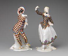 Harlequin and Harlequina, 18th C. [ca. 1763] Franz Anton Bustelli [Swiss]   metmuseum.org