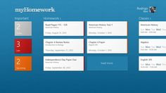 myHomework // myHomework is a planner app that helps students stay organized on Windows and their other devices. Track your classes, assignments and tests. With a myHomeworkApp.com account, sync your Windows data to/from your iPhone, iPad, iPod, Android, Kindle Fire and the web.