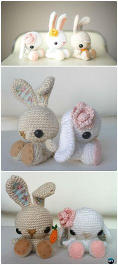 Crochet Amigurumi Rabbit Ideas Crochet Bunnies Free Pattern - If you are looking for some Free Easter Crochet Patterns you are in the right place. We've included Easter Crochet Baskets and more. Check them out now. Crochet Diy, Crochet Easter, Crochet Simple, Easter Crochet Patterns, Crochet Patterns Amigurumi, Crochet Crafts, Crochet Dolls, Crochet Projects, Knitting Patterns