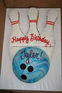 Homemade Bowling Cake: We had my son's 5th birthday party at a local bowling alley.  They took care of everything except for the cake, which was fine by me because I love to