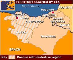 ETA reclama las regiones de España y Francia. El Pais Vasco se extendía desde el Golfo de Vizcaya y consiste en las provincias de Vizcaya, Gupizcoa, Navarra y Alvala. También ocupan partes del sudoeste de Francia: las provincias de Lapurdi, Baja Navarra y Zuberoa