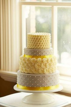Grey and Yellow Wedding Cake