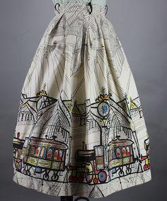 Novelty Train Station Print Vintage 50s Full Skirt XS S