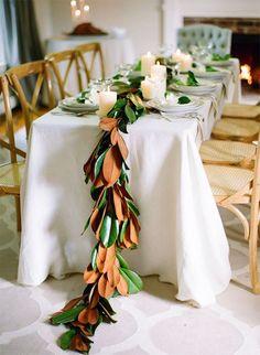 Thanksgiving magnolia table runner.