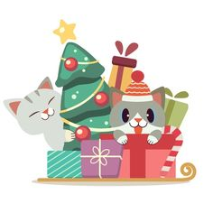 The character of cute cat in the gift bo... | Premium Vector #Freepik #vector #christmas #box #character #cartoon