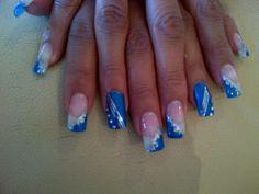 Royal blue glam nails