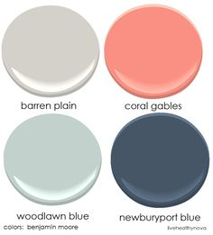 Family room color palette:  benjamin moore colors Barran plain, coral gables, woodlawn green, newburyport blue Family Room Colors, Blue Family Rooms, Girls Bedroom Colors, Navy Blue Living Room, Coral Living Rooms, Family Room Design, Living Room Decor, Playroom Color Scheme, Playroom Paint Colors
