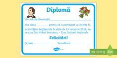 * NEW * Ziua Mihai Eminescu Diplomă Geography