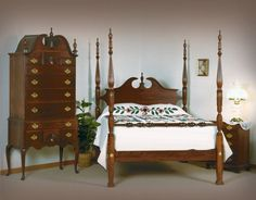 American drew cherry grove poster bed colors the o 39 jays for Queen anne bedroom suite