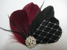 Wedding Bridal Bridesmaid Burgundy Red Black Feather Rhinestone Jewel White Veiling Head Piece Hair Clip Fascinator. $32.00, via Etsy.