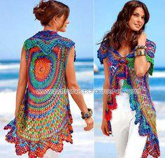 Bolero / chaleco tejido a crochet con forma circular