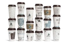 Creative Coffee Cups For US coffee company Caribou Coffee, Minneapolis-based ad agency Colle+McVoy designed themed coffee cups and napkins that aim to inspire consumers. Coffee Packaging, Coffee Branding, Brand Packaging, Packaging Design, Tassen Design, Caribou Coffee, Pause Café, Coffee Cup Design, National Coffee Day