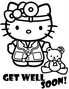 Know someone who is not very well or is in hospital? Cute Hello Kitty coloring page.