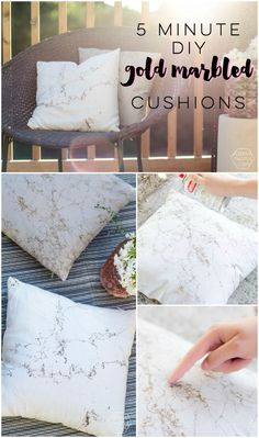 5 Minute DIY: Gold Marbled Throw Pillows
