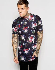 Criminal+Damage+Longline+T-Shirt+With+Floral+Print+And+Curved+Hem