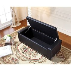$158/$190 39.5 inches long x 16 inches wide x 11 inches high Comfort Koket Black Faux Leather Luxury Ottoman