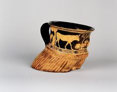 """Richter, Gisela M. """"An Athenian Cup in the Form of a Cow's Hoof."""" Bulletin of the Metropolitan Museum of Art, pp. Gisela M. Attic Red-Figured Vases: A Survey Ancient Greek Art, Ancient Greece, Cow Hooves, Hellenistic Art, Collections D'objets, Greek Paintings, Classical Period, Greek Pottery, Metropolitan Museum"""
