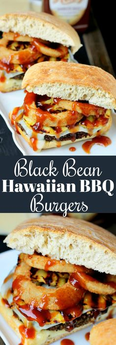 These Spicy Black Bean Hawaiian BBQ Burgers will be a hit at your next BBQ, and even the meat eaters will be asking for this recipe! (Vegan Recipes For Meat Eaters) Bbq Burger, Hamburgers, Beef Burgers, Grilling Recipes, Veggie Recipes, Vegetarian Recipes, Chicken Recipes, Healthy Recipes, Hamburger Recipes