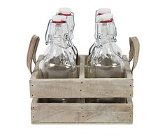 Set de bandeja de madera con 4 botellas de cristal