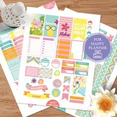 Summer Aloha Printable Planner Sticker for by AlakazooDesigns