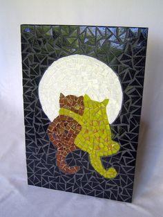 Quadro Gatos Namorando ao Luar mosaico