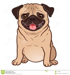 cute friendly fat chubby fawn sitting pug puppy, smiling with tongue out. pets, dog lovers, animal themed design element isolated on white. Pug Vector, Vector Art, Vector Graphics, Cute Dog Cartoon, Cartoon Dog Pictures, Pug Art, Dog Quotes Funny, Pug Puppies, Pug Dogs