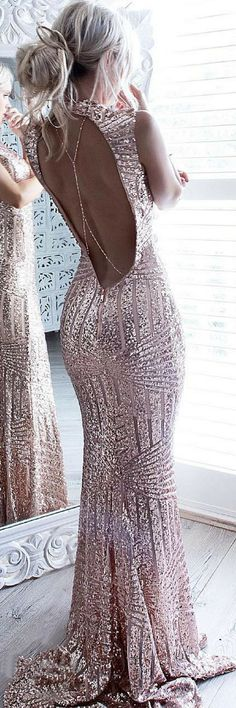 Mermaid Jewel Open Back Prom Dresses, Sweep Train Rose Gold Luxury Evening Dresses, Sequined Prom Dress
