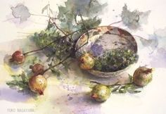 Yuko Nagayama: goods_for_art Watercolor Fruit, Watercolor Sunflower, Watercolor Landscape, Watercolour Painting, Watercolor Flowers, Watercolor Techniques, Japanese Artists, Botanical Art, Beautiful Artwork