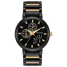 He'll appreciate the striking good looks of this Bulova fashion watch. Crafted in black ion-plated stainless steel with gold-toned accents, this hands. - Men& Bulova Black IP and Gold-Tone Watch with Black Dial (Model: Black Stainless Steel, Stainless Steel Watch, Stainless Steel Bracelet, Bulova Mens Watches, Watches For Men, Cheap Watches, Women's Watches, Wrist Watches, Watches Online