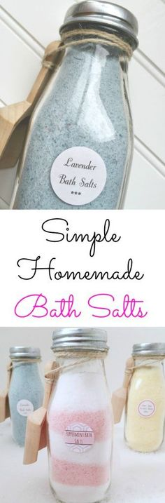 Simple Recipes for Homemade Bath Salts {Free Printables} - Lemons, Lavender, & Laundry                                                                                                                                                                                 More