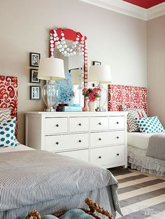 Playful patterned headboards create a sophisticated kids room - perfect for teens or tweens! From BHG.
