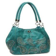 Blue Studded Paisley Designer Purse In Stock: $45
