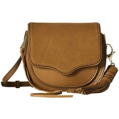 Rebecca Minkoff Mini Suki Crossbody (Almond 1) Cross Body Handbags featuring polyvore, women's fashion, bags, handbags, shoulder bags, cross-body handbag, brown leather shoulder bag, crossbody purses, brown leather crossbody and mini crossbody