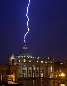 BLUE IT Lightning strikes St. Peter's basilica during a storm in the Vatican City on Feb. 2013 — the same day Pope Benedict XVI announced his resignation. (Photo: Alessandro Di Meo / EPA va NBC News) Lightning Strikes, Lightning Bolt, Lightning Storms, Tornados, Thunderstorms, Pope Benedict Xvi, St Peters Basilica, Perfectly Timed Photos, Vatican City