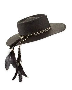 Gladys Tamez The Talitha Panama Straw Hat w/ Feathers, Black
