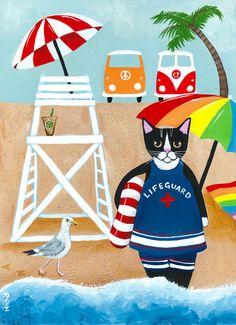 CAT Art Lifeguard at the Beach Original Cat Folk by KilkennyCatArt