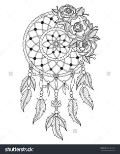 Indian Dream Catcher Zentangle Stylized Cartoon Isolated On White Background Hand Drawn Sketch Illustration For Adult Coloring Book T Shirt Emblem
