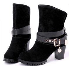 low heel genuine leather short boots