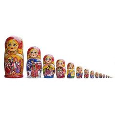 When a doll gets as small as a Tic Tac breath mint or a grain of rice, Matryoshka artists have to use a magnifying glass to paint it. In this Russian Fairy Tale set, the largest doll is 13 inches high, with the smallest piece measuring an inch. Made from a lime tree, and finished with lacquer, the set includes 15 pieces. And each doll features exceptional hand-painted detail from well-known Russian fairy tales.