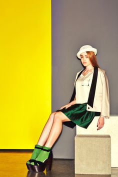 SS14 Beige shawl collar jacket, cream top with emerald Green skirt #kayli #ss14 #fashion