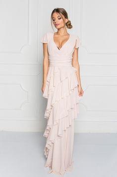 Dlhé spoločenské šaty s krátkym tylovým rukávom dc6b5e51c1