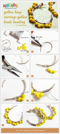 Summary: I love to collect my earrings in many colors so that it is easy to choose one to match my outfit. Yellow hoop earrings are designed for my light colored suit. Fantastic earring ideas to make your own jewelry! Do you love it? #diy earrings