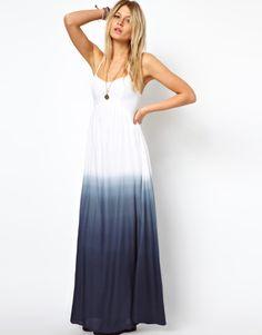 Asos Petite Exclusive Halter Maxi Dress with Dip Dye in White (multi)
