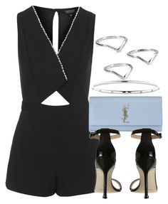 """Style #9214"" by vany-alvarado ❤ liked on Polyvore featuring Topshop, Yves Saint Laurent, Manolo Blahnik, Tiffany & Co. and ABS by Allen Schwartz"